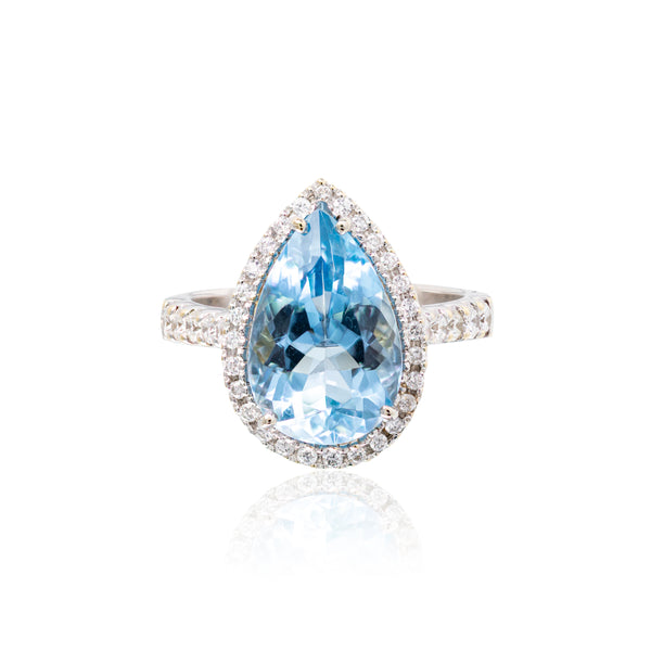 18kt wg pear shape Aquamarine 4.33 ct with Diamonds