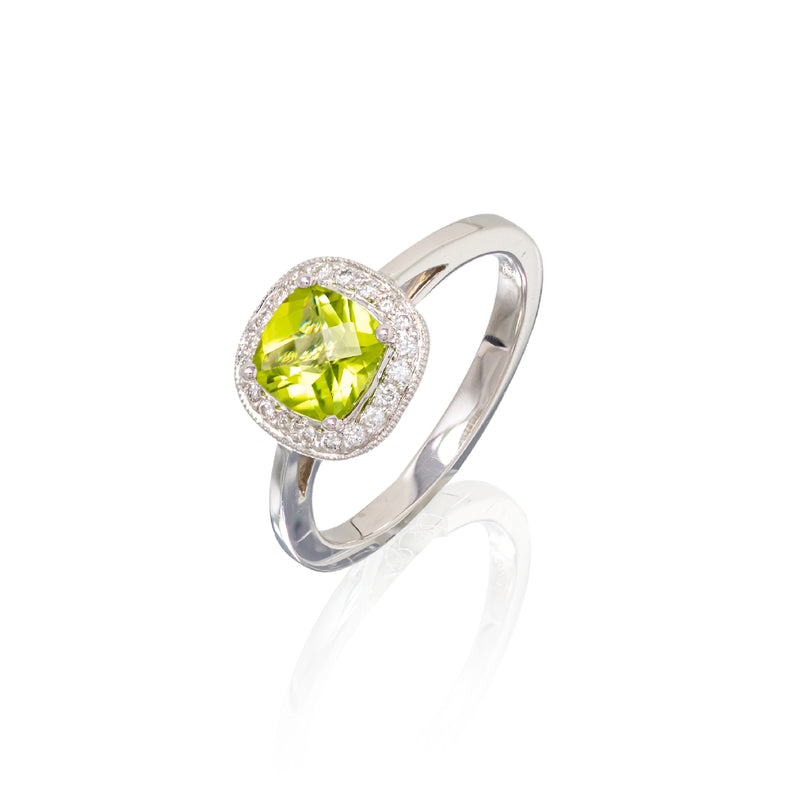14kt wg 4 prong set cushion shape peridot ring 1.06ct with round Diamonds