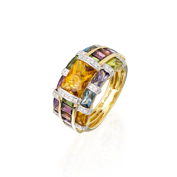 18KT Yellow Gold Marquesa Collection Ring w/Faceted Rectangular Citrine
