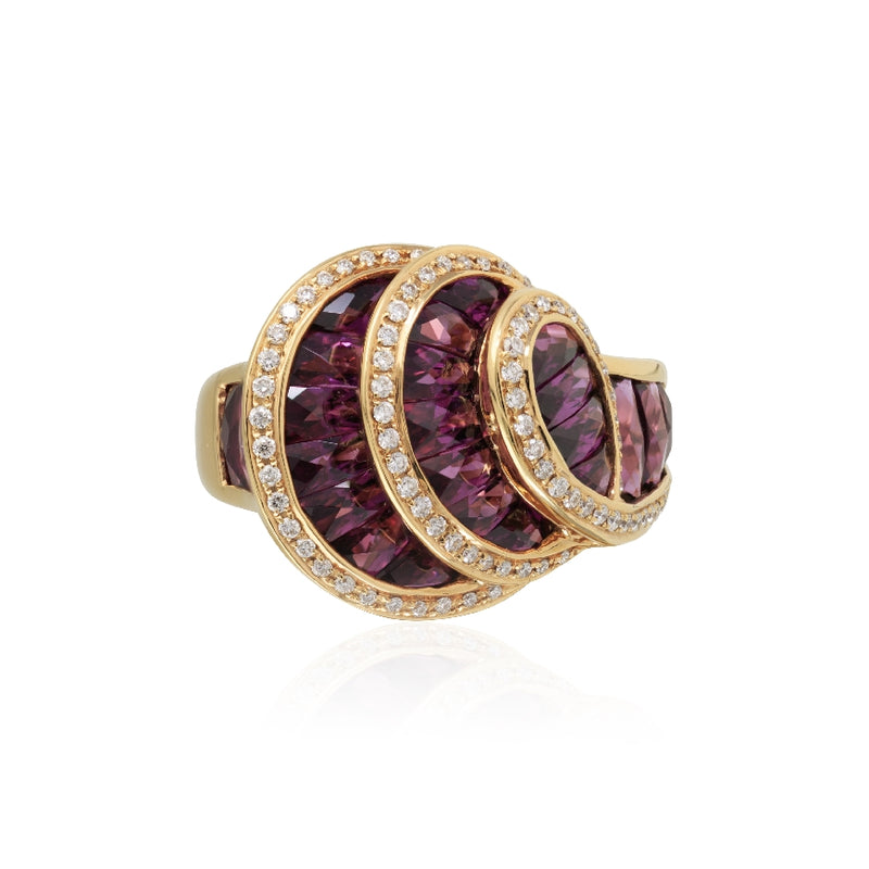 18KT Rose Gold La Bouquet Collection Rhodolite 6.85 CTW and Diamond Ring