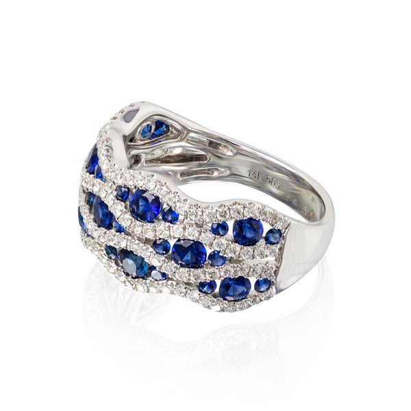 Multi row sapphire and diamond band