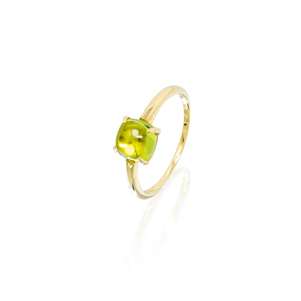 Peridot Cushion Cabachon Ring