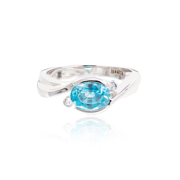 BLUE TOPAZ WITH DIAMONDS,