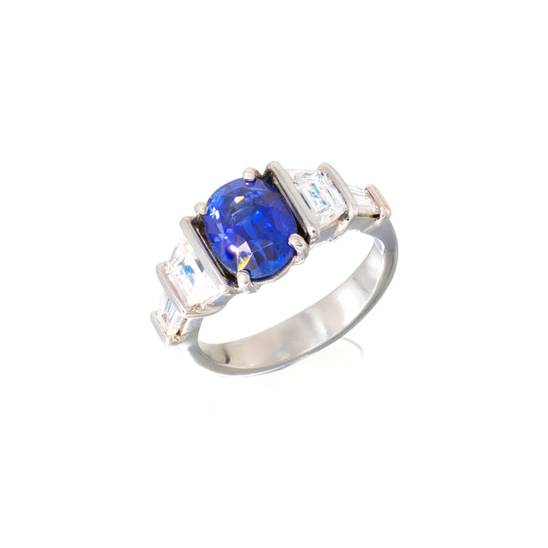 Over 3 carat Ceylon Sapphire and diamond ring