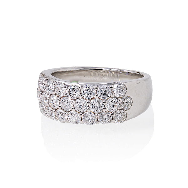 14KT White Gold and Diamond Band With 3 Rows Of Round Diamonds