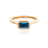 Rectangular Blue Ziron bezel set 7 x 5 mm faceted 14kt rose gold