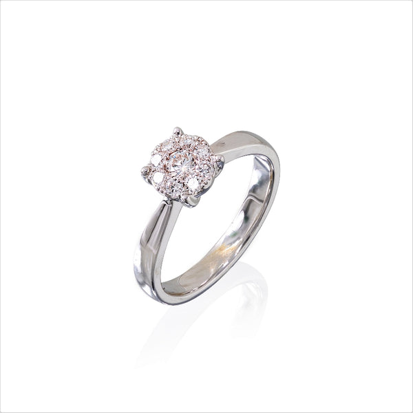 14KT White Gold Round Diamond Bouquet Ring