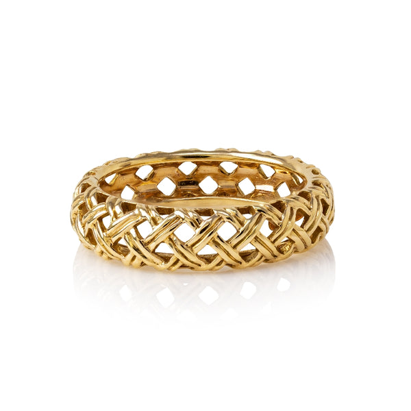 18KT Pink Gold 'Basketweave' Ring Size 7