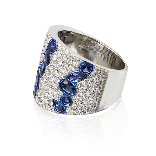 Tapered Diamond and Blue Sapphire Band With Enamel