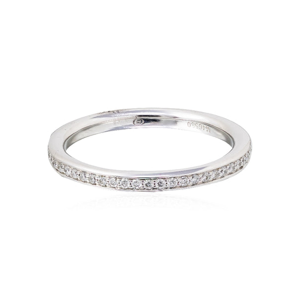 Ladies 18KT White Gold and Diamond Partial Wedding Band