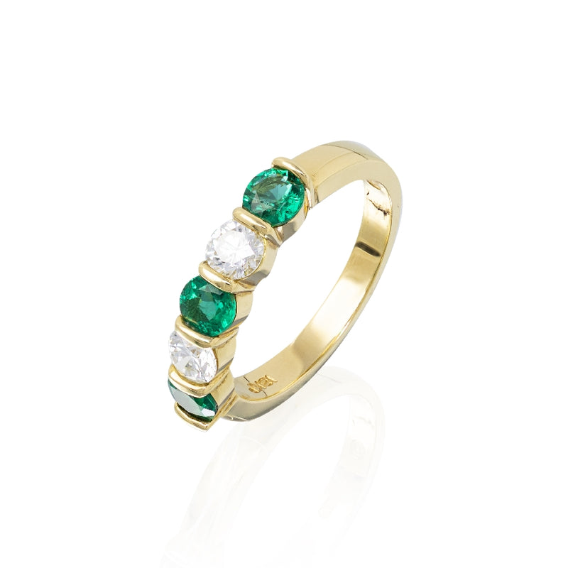 18KT Yellow Gold Round Diamond and Emerald Ring