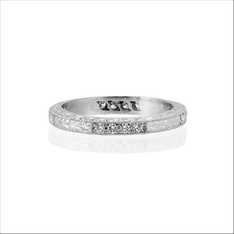 Platinum, Engraved, .24CTW Diamond Eternity Band