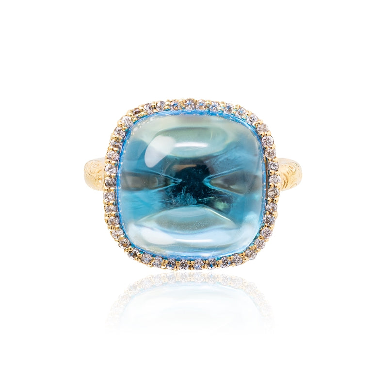 14KT Yellow Gold Blue Topaz and Diamond Cabachon Ring