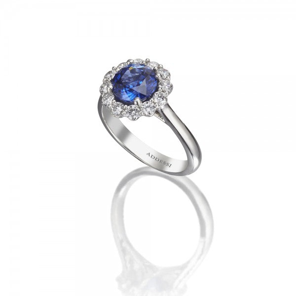 Platinum and Blue Sapphire Ring