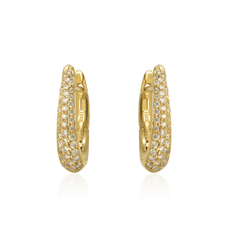 18KT Yellow Gold Diamond Pave Small Huggie Tapering Hoop Earrings