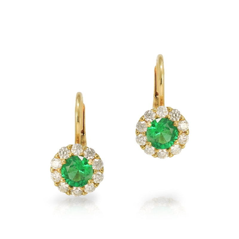 18KT Yellow Gold Emerald and Diamond Leverback Earrings
