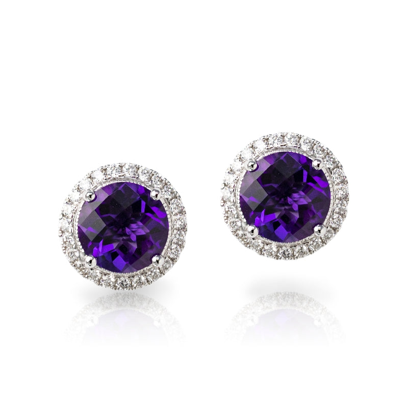 14KT White Gold Round Checkerboard Amethyst and Diamond Stud Earrings