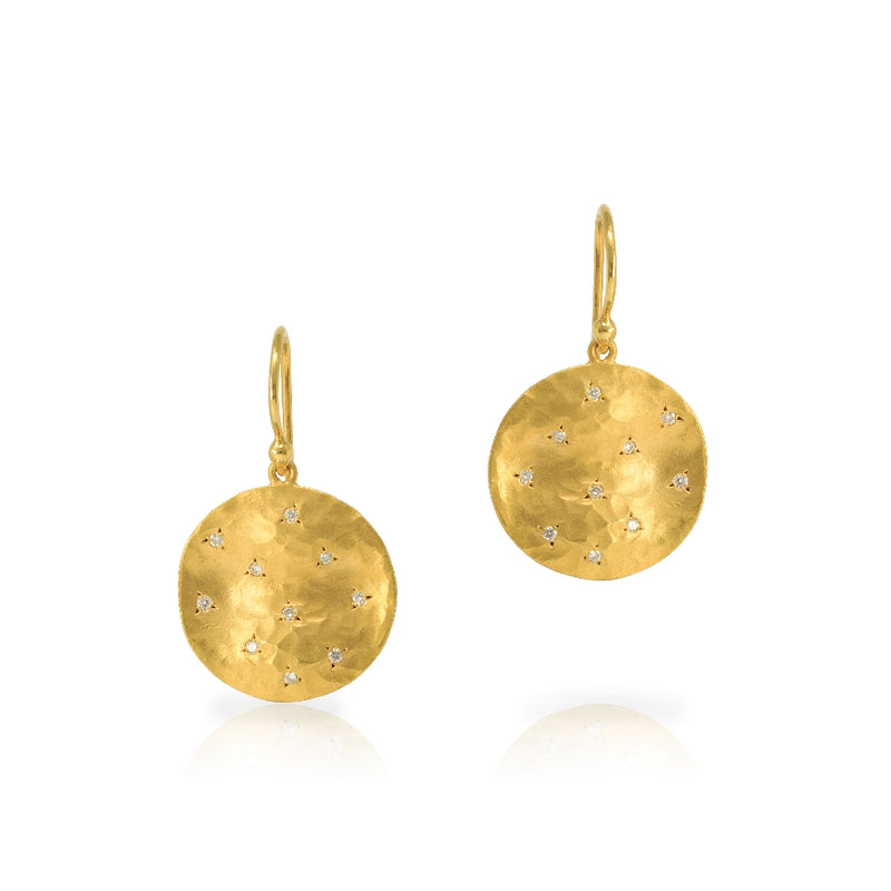 14KT Yellow Gold Small Disk Drop Earring With Ear Wire