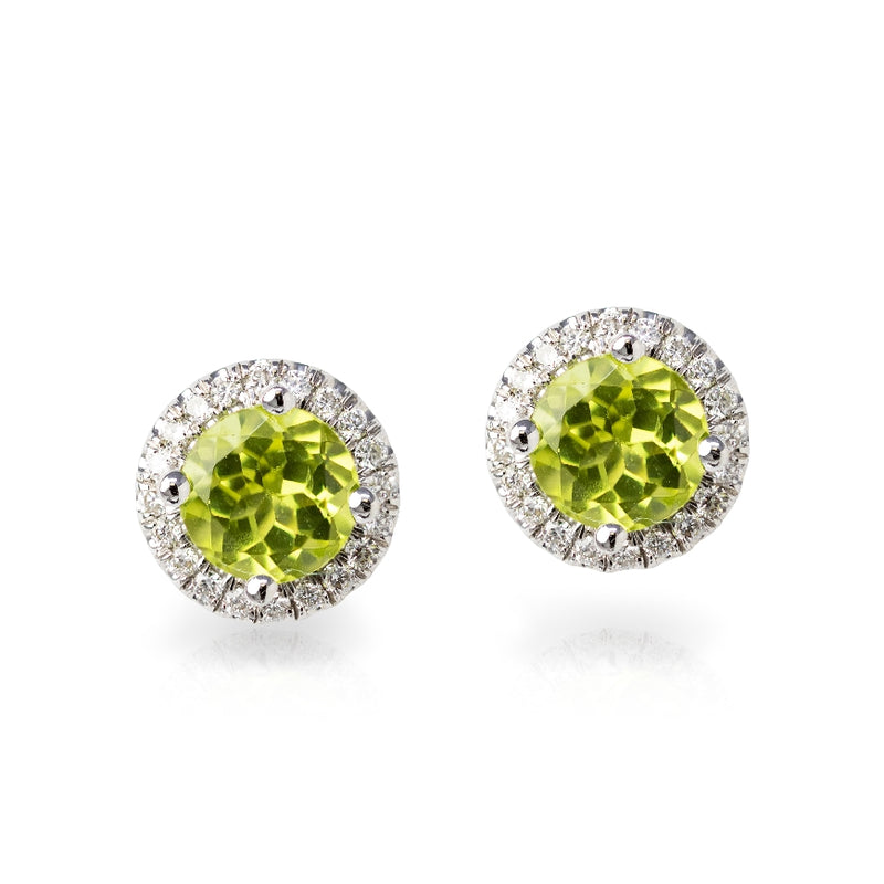 14KT White Gold Ladies Pair Of Round Peridot Stud Earrings Surrounded By A White Round Diamond Halo