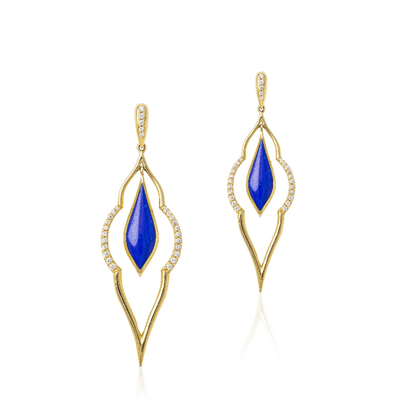 Lapis Earrings With Diamonds