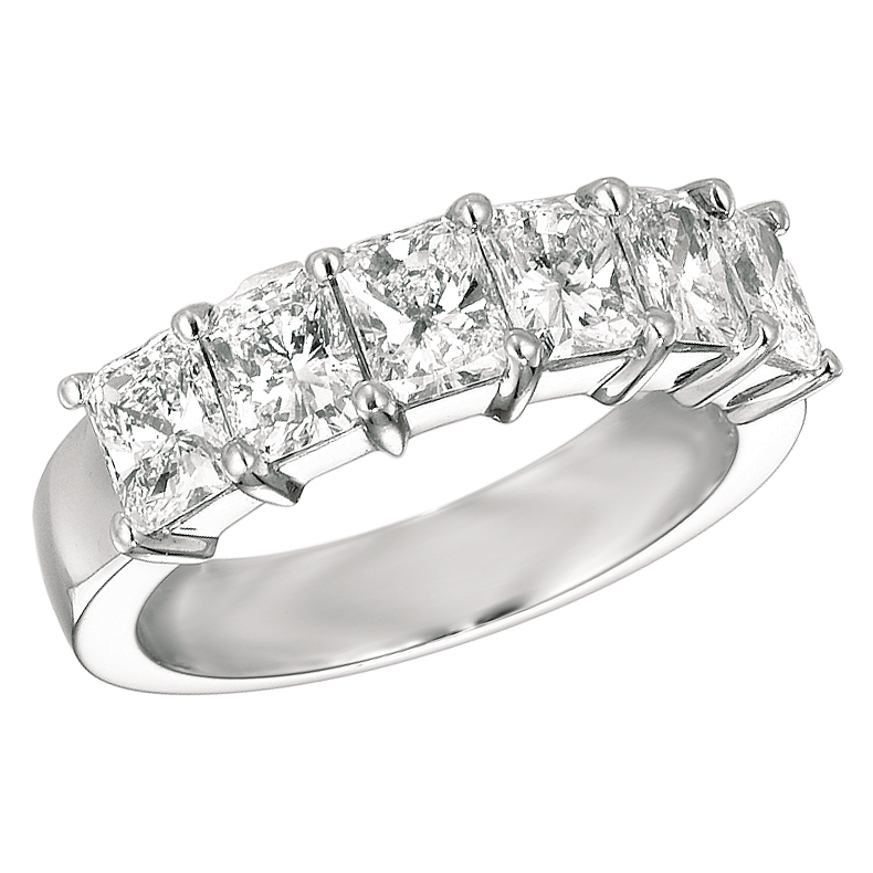 Six Stone Platinum Radiant Diamond Ring