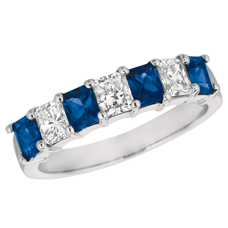 Seven Stone Platinum Radiant Diamond and Sapphire Ring