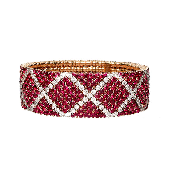 Cashmere bracelet gold with rubies and white diamonds
