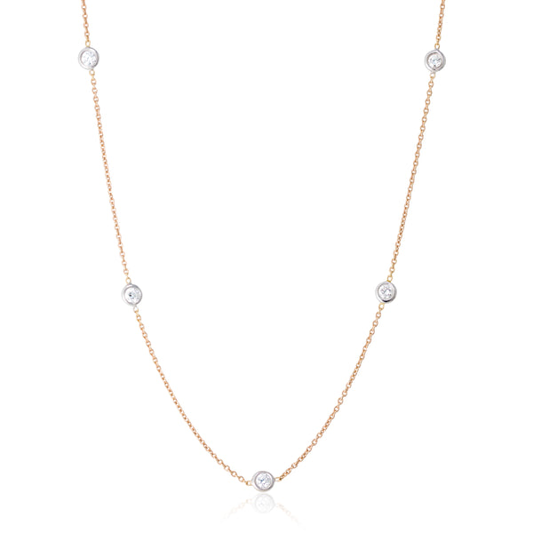 18kt Rose Gold and White Gold Diamond By The Yard Necklace