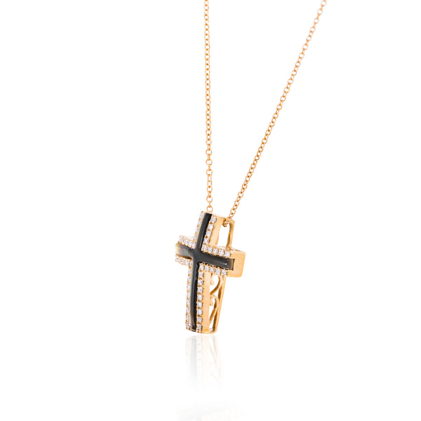Rose gold, diamonds and mother of pearl Cross and chain.