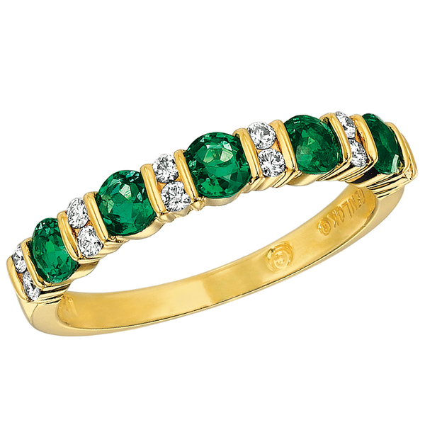 18KT Yellow Gold Diamond and Emerald Part Way Ring