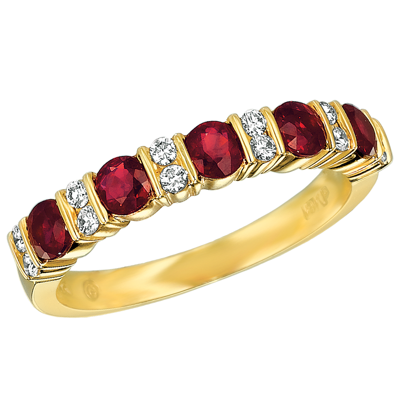 18KT Yellow Gold Diamond and Ruby Part Way Ring
