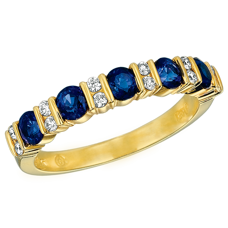 18KT Yellow Gold Diamond and Sapphire Part Way Ring