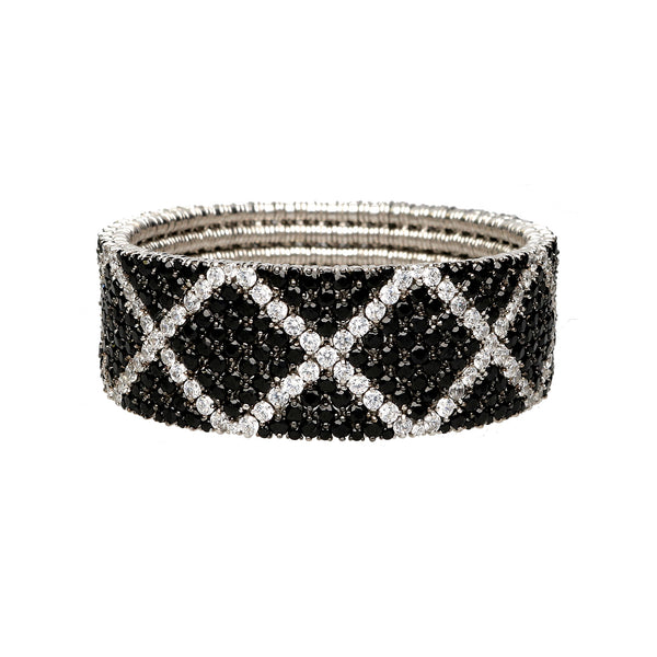 Cashmere bracelet gold with black and white diamonds