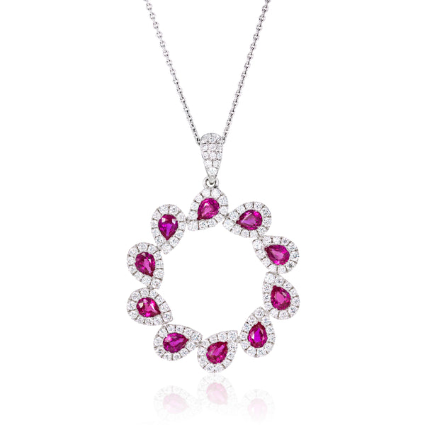 Ruby and Diamond, Eternity Pendant