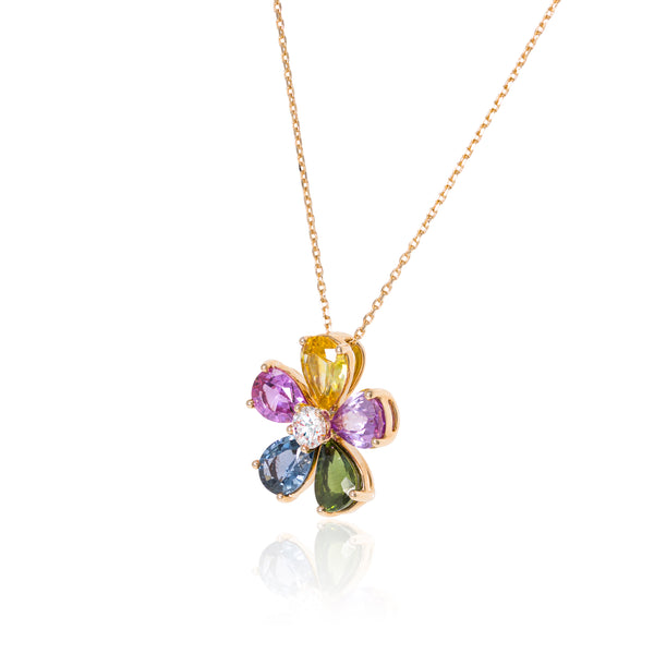 Colorful flower-Pendant , Rose gold.