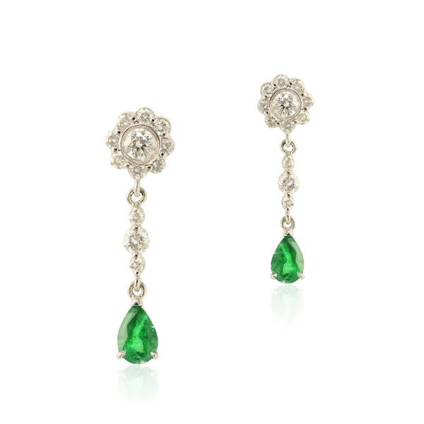 18KT White Gold Emerald & Diamond Earrings