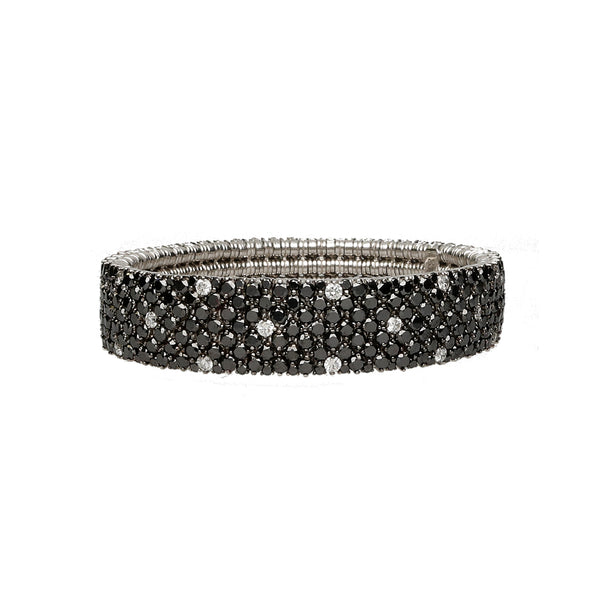 Cashmere gold bracelet with black diamonds and spot white