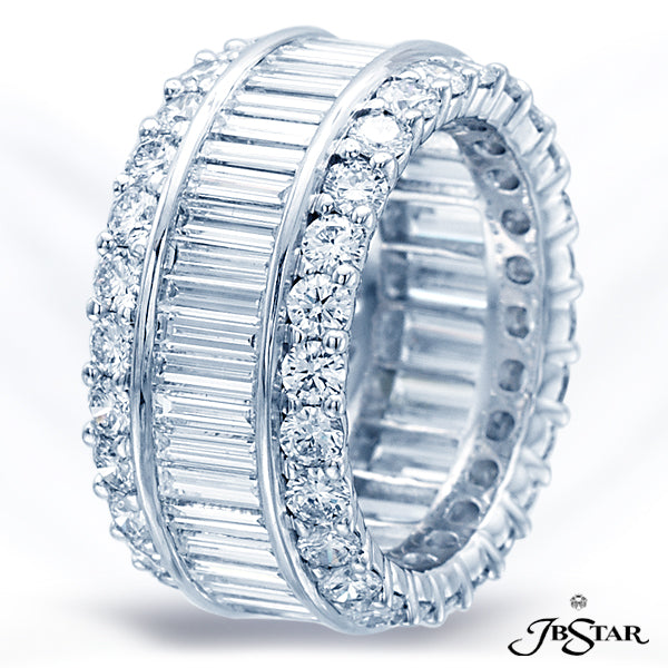 Platinum Eternity Baguette Diamond Band
