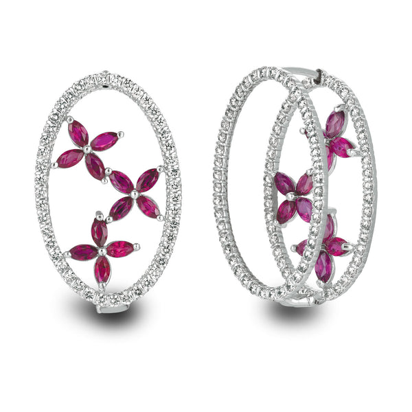 18kt White Gold Minilok Miroir Oval Earrings With Marquis Motif