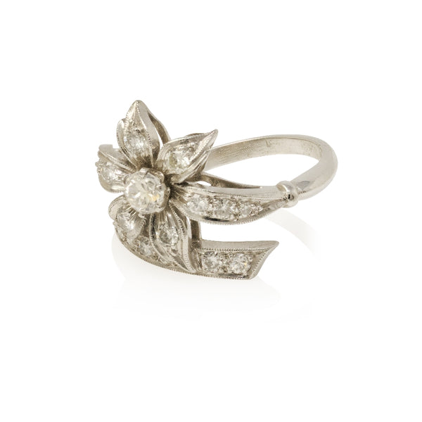 Ladies Platinum Flower Design Diamond Ring