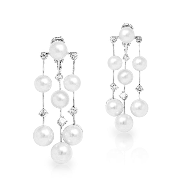 Ladies Pair Of 18KT White Gold Pearl and Diamond 'Triple Air' Earrings