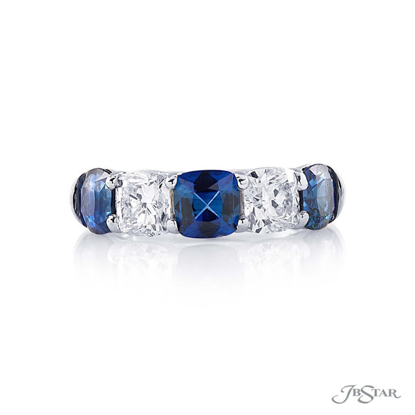2208-024 Dazzling sapphire and diamond band featuring 3 cushion cut sapphires and 2 cushion cut diamonds in a shared prong setting.