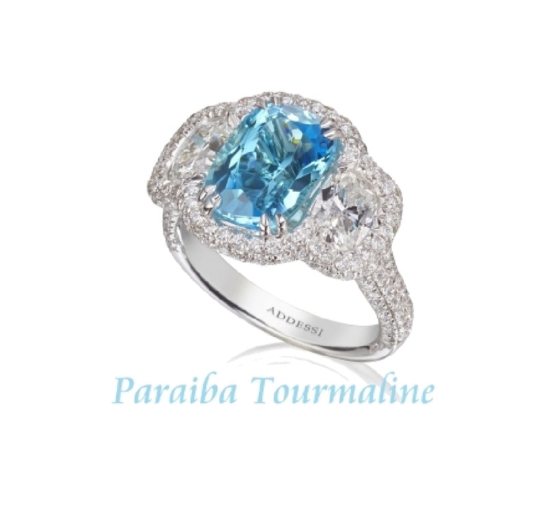 Platinum Diamond and Paraiba From Mozambique Tourmaline Ring