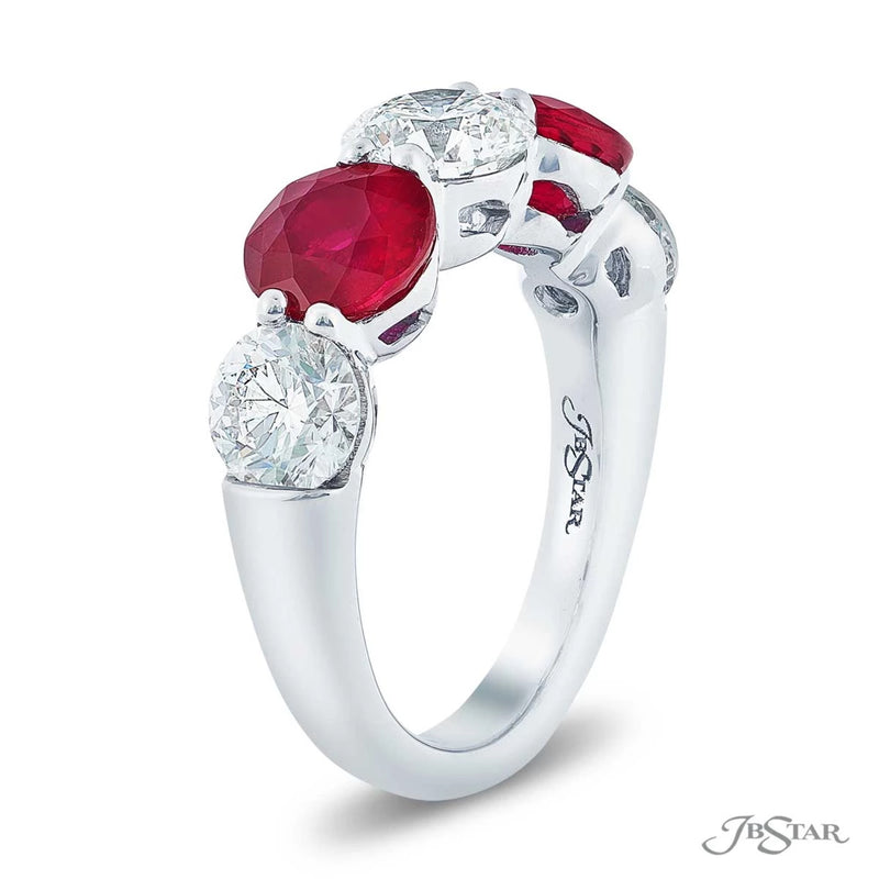 Gorgeous 5 stone ruby and diamond wedding band featuring 3 round diamond and 2 round rubies.