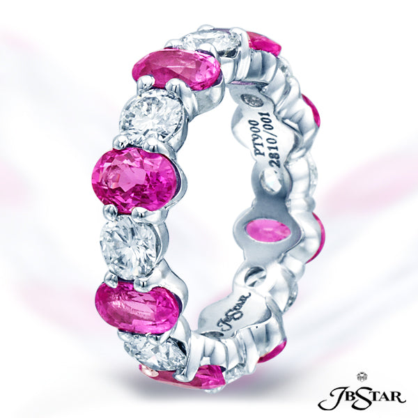 Oval Pink Sapphire & Diamonds Eternity Ring