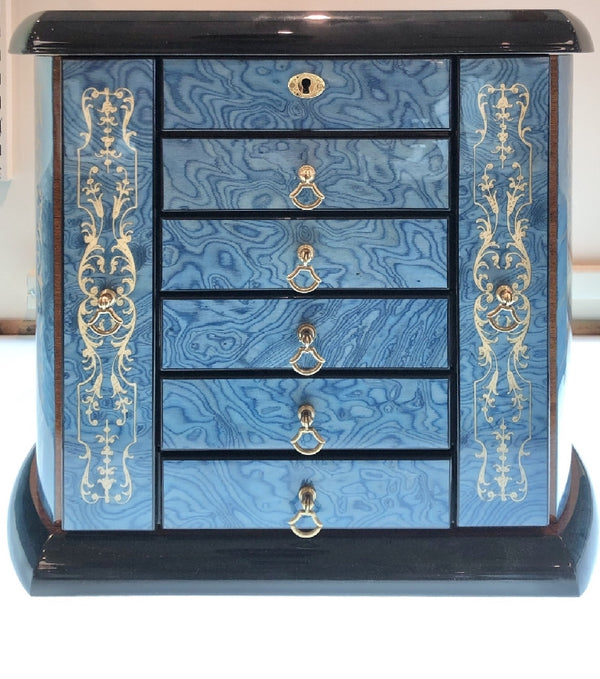 Sea Blue Tower Chest Jewelry Box