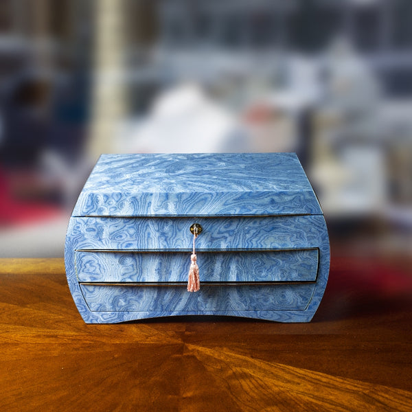 Sea Blue Jewelry Box w/ mirror and two drawers, 36x27x19cm made in Sorrento