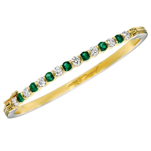 18KT Yellow Gold Diamond and Emerald Bangle