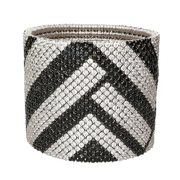Cashmere bracelet gold with white & black diamonds