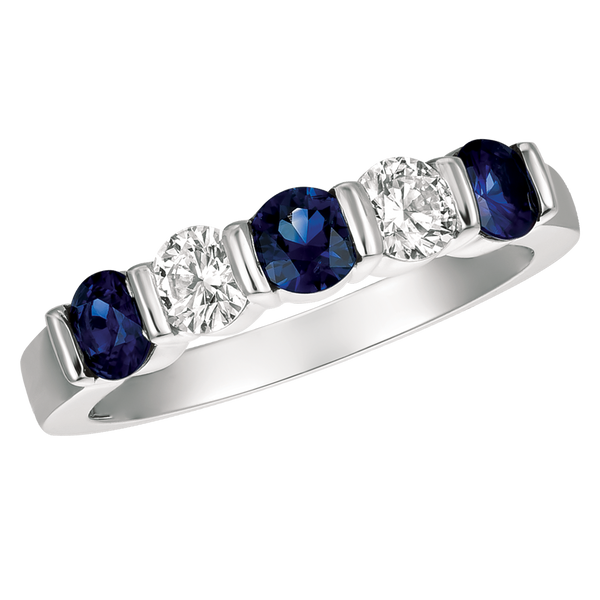Platinum 5 Stone Diamond and Sapphire Ring